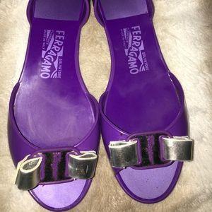 Ferragamo Jelly Bow Flats/Sandals